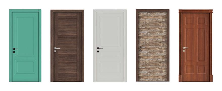 Doors for modern interior  3D render.