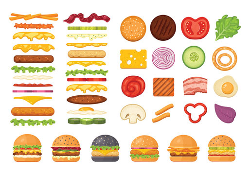 Big set of vector ingredients for burger and sandwich top view and front. Elements for different burgers isolated on white backgroud. Fastfood hamburger maker with flying ingredients.