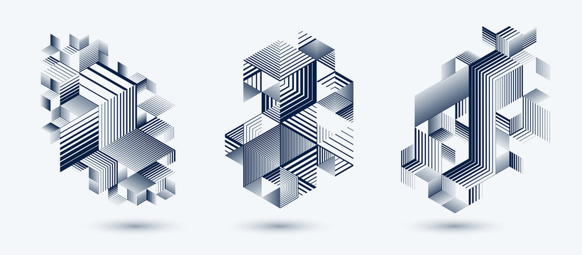 Linear striped abstract vector dimensional 3D backgrounds set with isolated retro style graphic element with cubes and triangles. Templates for posters or banners, covers or ads.