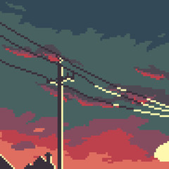 Pixel background. Pixel city. Retro style. Pixel sky.  Pixel art. 8 bit