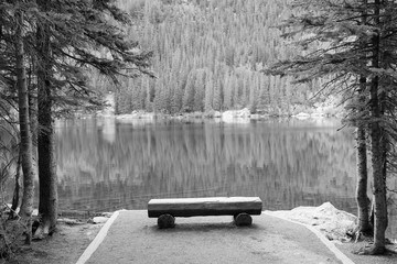 Bear Lake, Rocky Mountains. Black and white vintage style. American landscape.