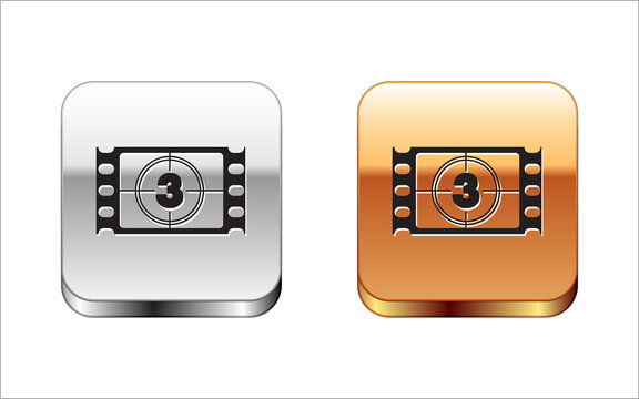 Black Play Video icon isolated on white background. Film strip with start sign. Silver-gold square button. Vector Illustration
