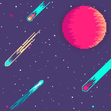 Planet in space. Retro game design interface. Retro computer stars for template or design element with pixel theme. Pixel art background. 8 bit.