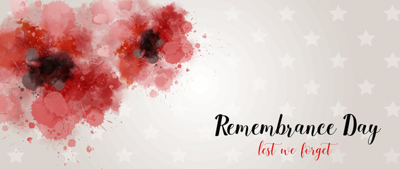 Remembrance day background with watercolor painted poppies.