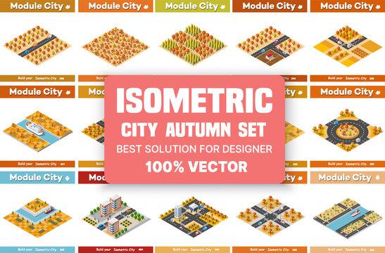 Isometric set of blocks module of areas of the autumn