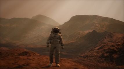 Zelfklevend Fotobehang Diepbruine Spaceman walks on the red planet Mars. Space Mission. Elements of this image furnished by NASA