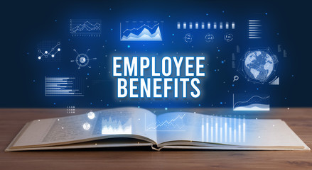 EMPLOYEE BENEFITS inscription coming out from an open book, creative business concept