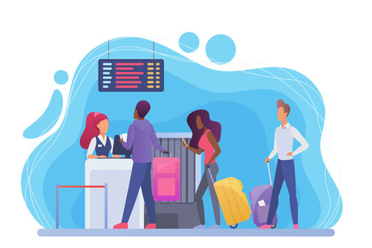 Check in in airport flat vector illustration. African american and european tourists with suitcases cartoon characters. Travelers with baggage going to vacation. Passengers registration for flight