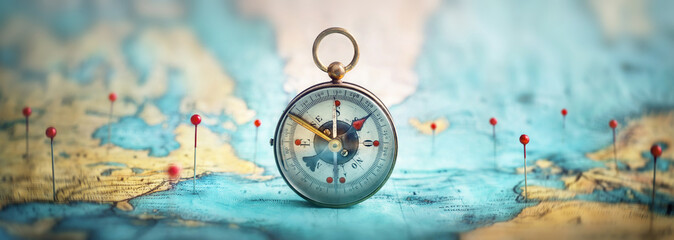 Printed roller blinds Northern Europe Magnetic compass and location marking with a pin on routes on world map. Adventure, discovery, navigation, communication, logistics, geography, transport and travel theme concept background..