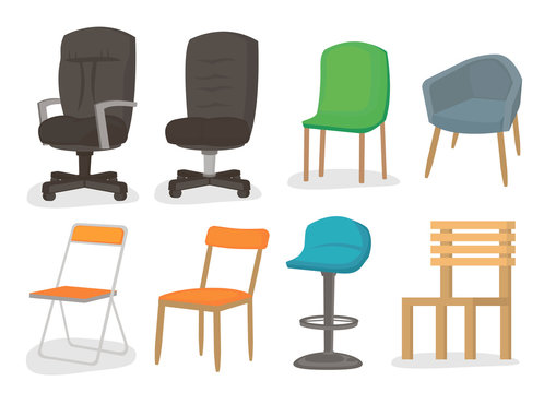 Chair set of 8 of comfortable furniture armchair design. Isolated on white background.