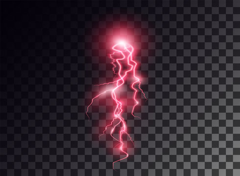 Electric red discharge, flash, transparent glow. Vector design element on isolated background.