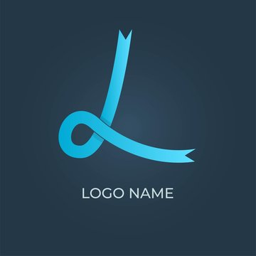 "Letter ""L"" ribbon logo isolated. Vector image"