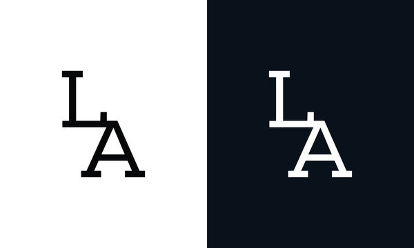 Minimalist line art letter LA logo. This logo icon incorporate with two letter in the creative way.
