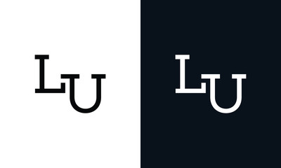Minimalist line art letter LU logo. This logo icon incorporate with two letter in the creative way. Fototapete