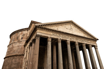Poster Bedehuis Rome Pantheon isolated on white background, Italy, Europe. Ancient Roman temple dedicated to all the gods of the past, today a Christian basilica. UNESCO world heritage site