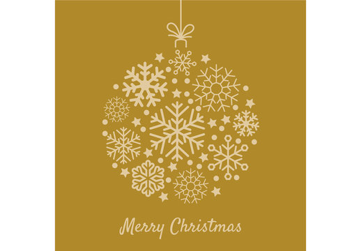 Decorative Digital Yellow Christmas Ornament Layout