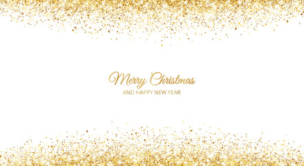 Wall Mural - Merry Christmas and New Year card design. Gold glitter decoration, falling sparkling dust texture.