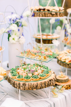 Delicious canapes as event wedding dish. Catering - served table with various snacks, canape and appetizers. Wedding in rustic style outdoors