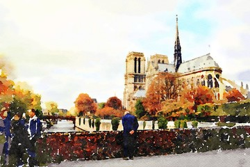watercolors of the church of Notre Dame in Paris