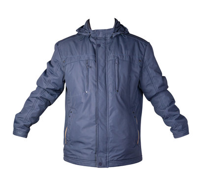 Men's jacket in a hood isolated on a white background. Windbreaker jacket front view.