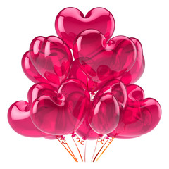 Heart balloons party happy birthday decoration red pink in love
