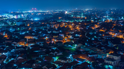 Nightscape of Palembang city, Indonesia Wall mural