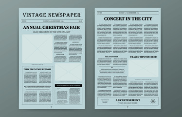 Old vintage paper newspaper template. Vector news articles old fashioned design. Retro newsprint magazine set brochure newspaper pages with headline. Paper journal illustration