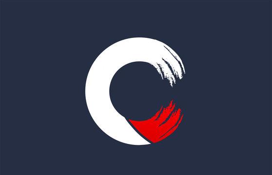 C white red blue alphabet letter with grunge brush ending for company logo icon design