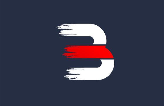 B white red blue alphabet letter with grunge brush ending for company logo icon design