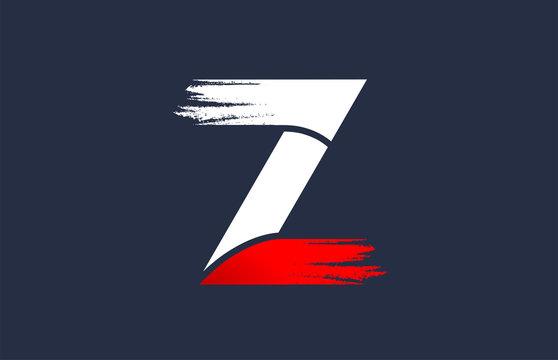 Z white red blue alphabet letter with grunge brush ending for company logo icon design