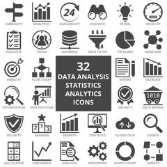 Data analysis, statistics, analytics web icon set. Flat icons collection. Simple vector illustration.