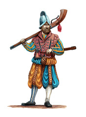 Musketeer illustration. Medieval soldier wit gun. Uniform and Arquebuse illustration.