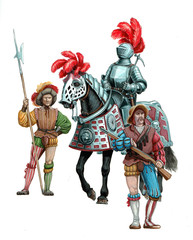 Mounted Armoured knight, landsknecht and arquebusier. Historical illustration.