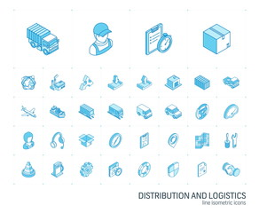 Isometric line icon set. 3d vector colorful illustration with Logistic, delivery business, distribution symbols. Service, export, shipping, transport colorful pictogram Isolated on white
