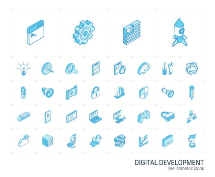 Isometric line icon set. 3d vector colorful illustration with web and app development symbols. Digital network technology, coding, application, program data colorful pictogram Isolated on white