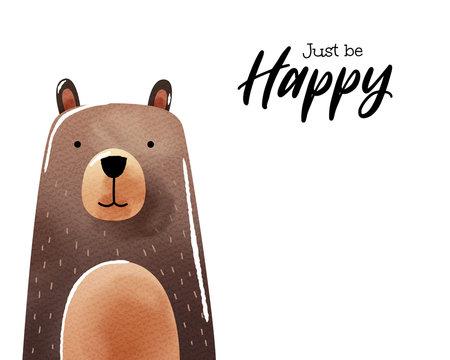 Watercolor art of cartoon bear