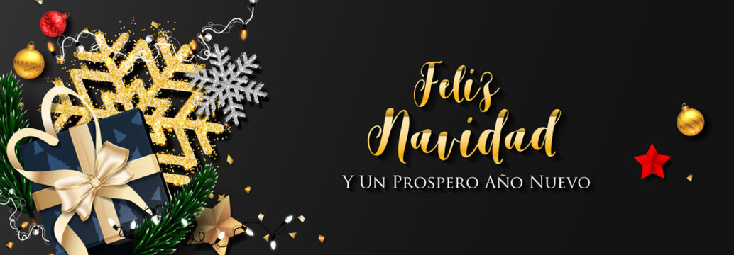 Spanish Christmas (Feliz Navidad) and Happy New Year 2020 greeting card
