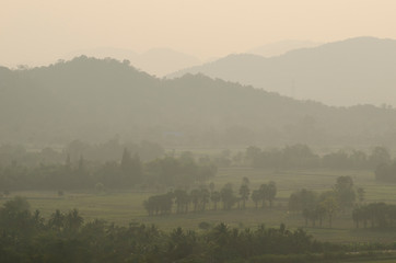 Printed kitchen splashbacks Khaki foggy morning in the mountains