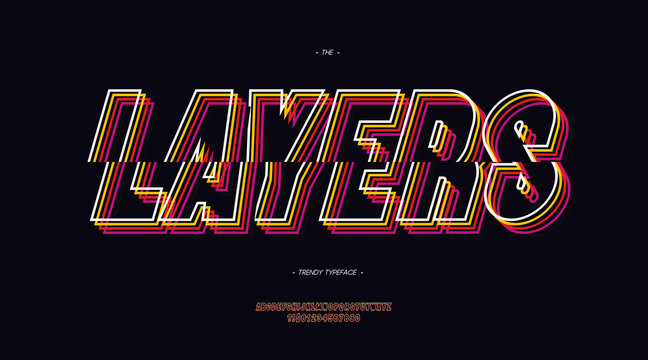Vector layers font 3d bold line style trendy typography neon color for poster, decoration, book, infographics, motion graphics, video, t shirt, logo, book, animation, banner, game, printing. 10 eps