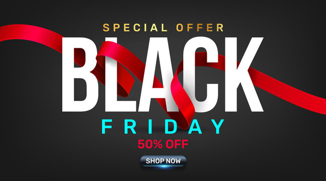 Black Friday Sale Promotion Poster or banner with red ribbon concept.Special offer 50% off sale in black color style.Promotion and shopping template for Black Friday.Vector illustration eps 10