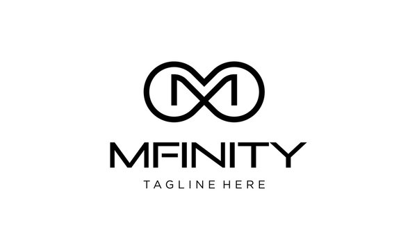 initial letter M with infinity logo design template