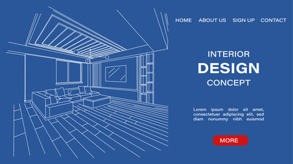 Interior design concept site template with blueprint sketch of a modern living room. Architectural Vector