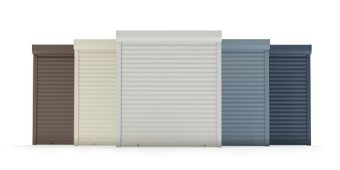 Window roller collection isolated on white v2, 3d illustration