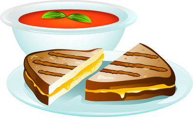 Grilled Cheese Sandwich Illustration
