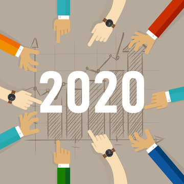 Team hands looking at growth in the future year of 2020. working together looking for improvement in sales marketing and revenue
