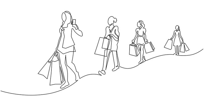 Continuous one line drawing women with shopping bags in their hands. Fashion girls on New Year's sale