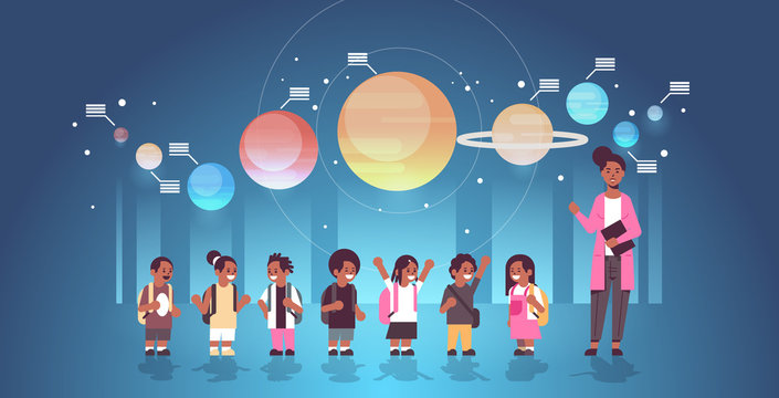 female teacher with african american schoolchildren in observatory solar system exploration school trip excursion to planetarium astronomy lesson concept flat full length horizontal vector