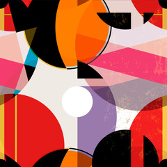 seamless geometric pattern background, retro/vintage style, with circles, strokes and splashes