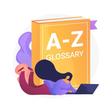 English language studying. Internet glossary, modern vocabulary, dictionary idea. Translator with laptop. Woman searching definition online. Vector isolated concept metaphor illustration