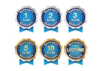 Quality certification warranty badge icon set